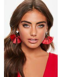 Missguided - Diamante Top Red Tassel Earrings - Lyst