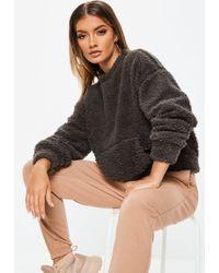 Missguided - Grey Teddy Pocket Front Sweatshirt - Lyst