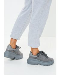 Missguided - Gray Double Sole Lace Up Sneakers - Lyst