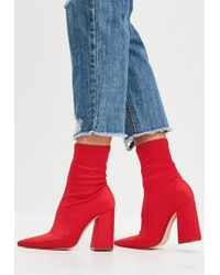 Missguided - Red Flared Heel Sock Boots - Lyst