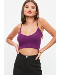 Missguided - Purple Ribbed V Neck Crop Top - Lyst