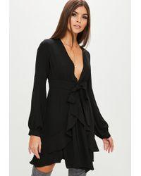 Missguided - Black Long Sleeved Skater Dress - Lyst