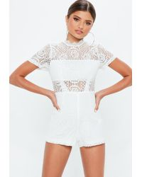 Missguided - Ivory Lace Short Sleeve Playsuit - Lyst