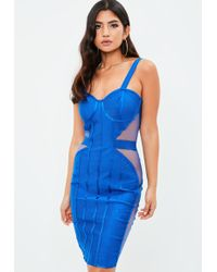 Missguided - Blue Strappy Plunge Dress - Lyst