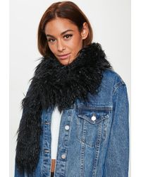 Missguided - Black Longline Faux Fur Scarf - Lyst