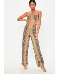 51896462414 Missguided - Brown Snake Print Bandeau Cut Out Jumpsuit - Lyst