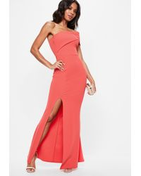 Missguided - Coral One Shoulder Maxi Dress - Lyst