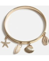 Missguided - Gold Look Shell Drop Bangle - Lyst