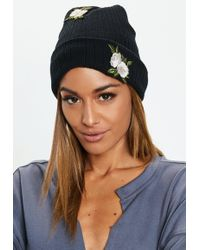 Missguided - Black Floral Patch Beanie - Lyst