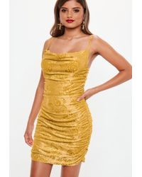 Missguided - Mustard Devore Cowl Mini Dress - Lyst