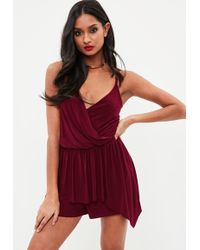 Missguided - Burgundy Slinky Wrap High Low Playsuit - Lyst