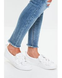 Missguided - White Flower Slip On Trainers - Lyst