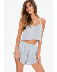 Missguided - Grey Satin Cami Short Pyjamas Set - Lyst