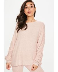 Missguided - Nude Brushed Sweatshirt - Lyst