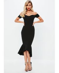 Missguided - Black Bardot Fishtail Midi Dress - Lyst