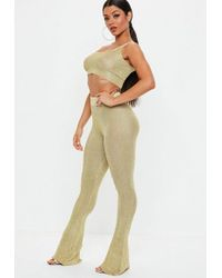 Missguided - Petite Gold Metallic Knitted Flared Trousers - Lyst