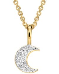 Missoma - Gold Pave Moon Charm Necklace - Lyst