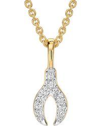 Missoma - Gold Pave Wishbone Charm Necklace - Lyst