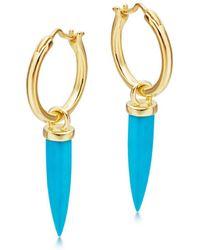 Missoma - Mini Turquoise Dagger Charm Hoops - Lyst