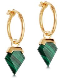 Missoma - Malachite Mini Shield Hinged Hoops - Lyst