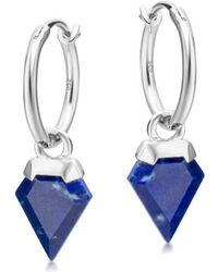 Missoma - Silver Lapis Mini Shield Hinged Hoops - Lyst