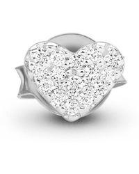 Missoma - Silver Single Pave Heart Stud - Lyst
