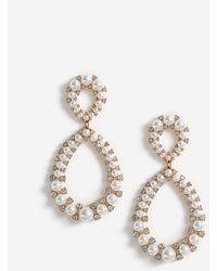 Miss Selfridge Gold Pearl Drop Earrings - Metallic