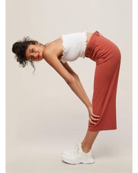 Miss Selfridge - Rust Belted Cropped Wide Leg Trousers - Lyst