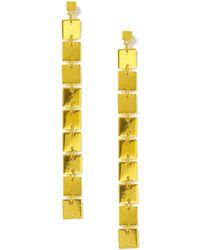 Miss Selfridge - Yellow Metallic Square Drops - Lyst