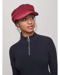 Miss Selfridge - Burgundy Corduroy Baker Boy Hat - Lyst