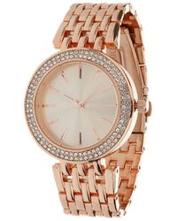 Miss Selfridge - Rhinestone Rose Gold Watch - Lyst