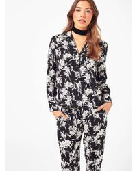 Miss Selfridge - Monochrome Floral Pyjama Shirt - Lyst