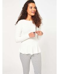 Miss Selfridge - Petites Knitted Peplum Top - Lyst
