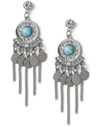 Miss Selfridge - Turquoise Disc Earrings - Lyst