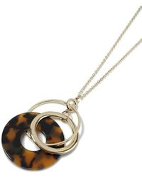 Miss Selfridge - Tortoiseshell Necklace - Lyst