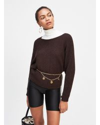 60b2f9f10041f2 Miss Selfridge - Chocolate Batwing Knitted Jumper - Lyst