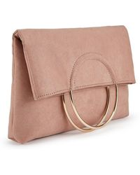 Miss Selfridge - Nude Metal Circle Fold Over Clutch Bag - Lyst