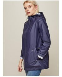 Miss Selfridge - Navy Blue Raincoat - Lyst