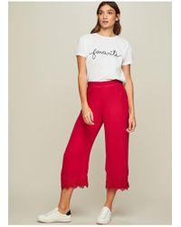 Miss Selfridge - Red Crochet Cropped Trousers - Lyst