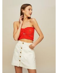 Miss Selfridge - Petite Embroidered Shirred Bandeau Top - Lyst