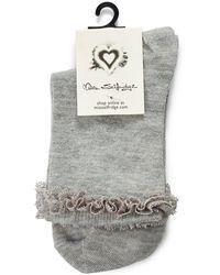 Miss Selfridge - Grey Lace Trim Socks - Lyst