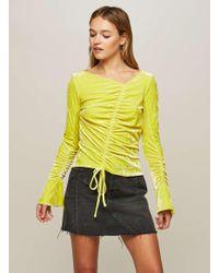 Miss Selfridge   Chartreuse Velvet Drawstring Top   Lyst