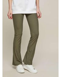 Miss Selfridge - Khaki Ribbed Kick Flare Trousers - Lyst