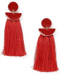 Miss Selfridge - Red Tassel Earrings - Lyst