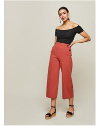 Miss Selfridge - Brown Button Cropped Trousers - Lyst
