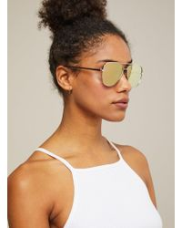 Miss Selfridge - Quay Australia High Key Mini Gold Aviator Sunglasses - Lyst