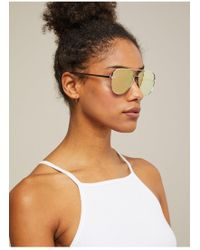 46a29838ac Miss Selfridge - Quay Australia High Key Mini Gold Aviator Sunglasses - Lyst