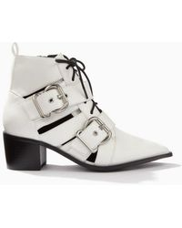 Miss Selfridge - Abigail White Buckle Boots - Lyst