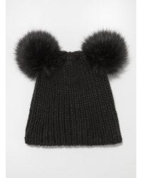 Miss Selfridge - Black Double Faux Fur Pom Hat - Lyst