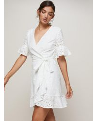 Miss Selfridge - Broderie Frill Wrap Dress - Lyst